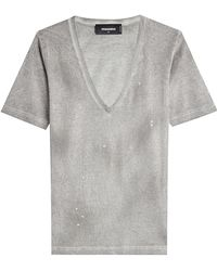 DSquared² - Distressed Cotton T-shirt - Lyst