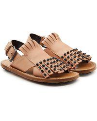 Marni - Embellished Leather Sandals - Lyst