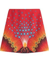 Valentino - Volcano Mini Skirt With Virgin Wool And Silk - Lyst