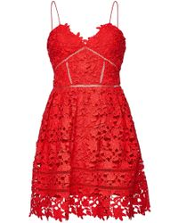 Self-Portrait - Azaelea Mini Dress With Lace - Lyst