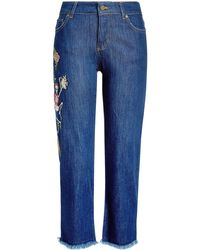 Zadig & Voltaire - Cropped Embroidered Jeans With Frayed Hem - Lyst