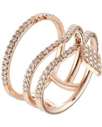 Diane Kordas - 18kt Rose Gold Ring With White Diamonds - Lyst