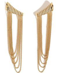 Nikos Koulis - 18kt Yellow Gold Star Earrings With White Diamonds - Lyst