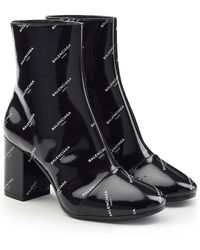 Balenciaga - Printed Patent Leather Ankle Boots - Lyst