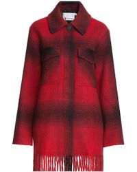 T By Alexander Wang - Printed Jacket With Fringed Trim - Lyst