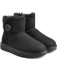 UGG - Shearling Lined Suede Boots With Button - Lyst