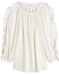 Sonia Rykiel - Silk Blouse With Ruffled Sleeves - Lyst