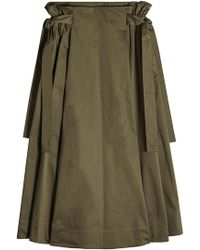 Rosetta Getty - Cotton Midi Skirt With Knotted Sides - Lyst