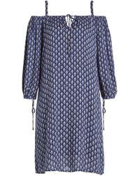 Velvet - Printed Cold-shoulder Dress - Lyst