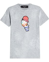 DSquared² - Printed Cotton T-shirt - Lyst
