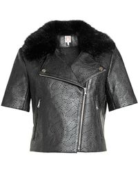 Shrimps | Perforated Jacket With Faux Fur | Lyst