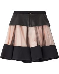 David Koma - Flared Skirt With Leather And Tulle - Lyst