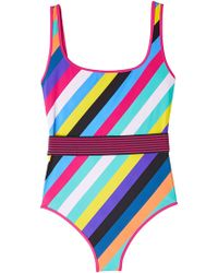 Diane von Furstenberg - Striped Swimsuit - Lyst
