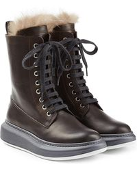 Brunello Cucinelli - Leather Ankle Boots With Fur Lining - Lyst