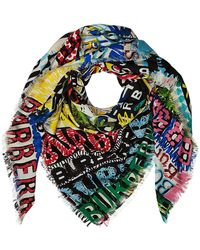 Burberry - Printed Wool Scarf With Silk - Lyst