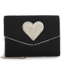 Les Petits Joueurs - Lulu Disco Heart Embellished Velvet Shoulder Bag - Lyst