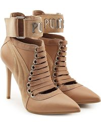 PUMA - Lace Up Stiletto Boots With Leather And Suede - Lyst