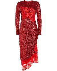 Preen By Thornton Bregazzi - Sequined Mae Dress With Asymmetric Hem - Lyst