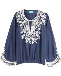Taj - Embellished Silk Top - Lyst