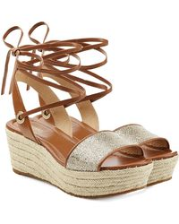 MICHAEL Michael Kors | Leather Wedges With Metallic Fabric | Lyst