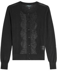 Paule Ka - Lace-trimmed Cardigan With Wool And Silk - Lyst