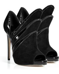 Alejandro Ingelmo - Black Suede Triple Layered Booties - Lyst
