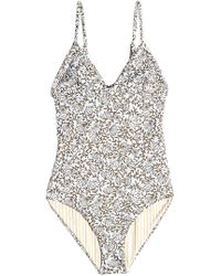 7ed2698ac1 She Made Me Dhari Cotton Striped One Piece Swimsuit - Lyst