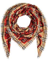 Burberry - Écharpe à carreaux en laine et en soie - Lyst 9e965b5fcf8