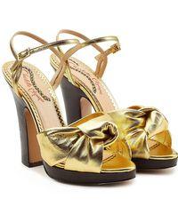 Charlotte Olympia - Farrah Metallic Leather Platform Sandals - Lyst