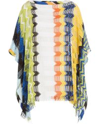 Missoni - Gefranster Strick-Poncho mit Cut-Outs - Lyst