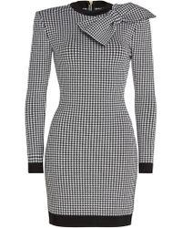 Balmain - Bow-embellished Gingham Stretch-knit Mini Dress - Lyst