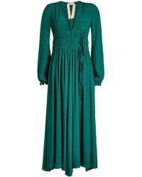N°21 - Smocked Waist Dress With Silk - Lyst
