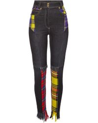 Versace - Distressed Jeans Plaid Patchwork - Lyst