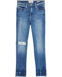 FRAME - Cropped Jeans mit Distressed-Elementen - Lyst