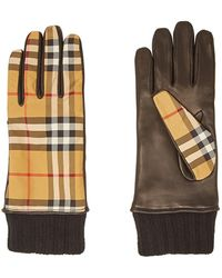 Burberry - Checked Leather Gloves - Lyst