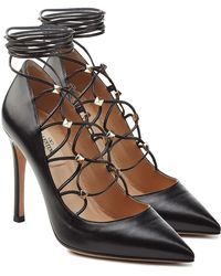 Valentino - Leather Pumps With Embellished Ties At Ankle - Lyst