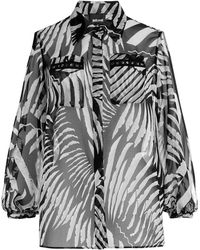 Just Cavalli | Printed Blouse With Cut-out Shoulders | Lyst