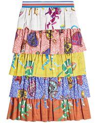 Stella Jean - Tiered Cotton Print Skirt - Lyst