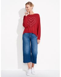 Sundry - Embroidered Heart Crew Neck - Lyst