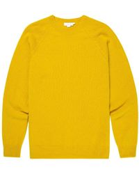 Sunspel Men's Lambswool Crew Neck Jumper In Turmeric