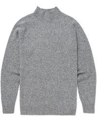 Sunspel - Men's Lambswool Funnel Neck Jumper In Mid Grey Melange - Lyst