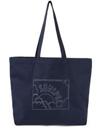 Sunspel - Embroidered Tote Bag In Cotton Canvas In Navy - Lyst