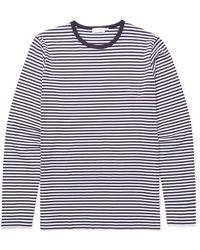 fafd2b4684ac Sunspel - Men's Cotton Long Sleeve T-shirt In Navy/white English Stripe -