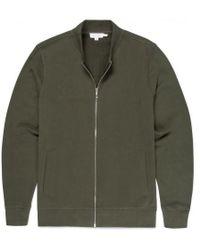 Sunspel - Men's Cotton Loopback Zip Jacket In Dark Olive - Lyst