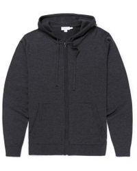 Sunspel - Men's Merino Wool Knitted Zip Hoody In Charcoal Melange - Lyst