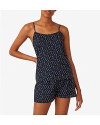 Sunspel - Women's Printed Cotton Cami In Hole Spot Black - Lyst