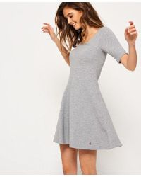 Superdry - Wave Textured Skater Dress - Lyst
