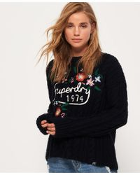 Superdry - Floral Handcraft Cable Knit Jumper - Lyst