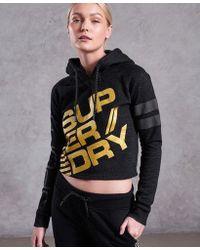Superdry - Diagonal Black And Gold Hoodie - Lyst