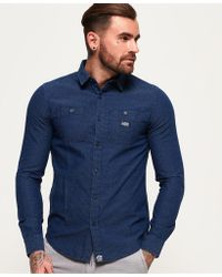 Superdry - Indigo Loom Long Sleeve Shirt - Lyst